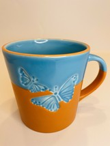 2006 Starbucks Two Tone Butterfly Mug Teal Orange Coffee Tea Mug - $14.84