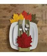 Thanksgiving Utensil Holders Felt Maple Leaf Decorative Set of 4 Fall Ha... - $24.63