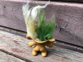 Vintage 1965 Uneeda Two Headed Troll Doll w Earrings Green / White  image 2