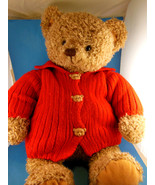 "Hallmark Mary Teddy Bear Plush In Red Sweater 18"" Large Shaggy fur pile ... - $19.79"