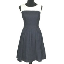 Ann Taylor LOFT Dress 10 Large Navy Blue White Chiffon Neck Full Pleat K... - $21.95