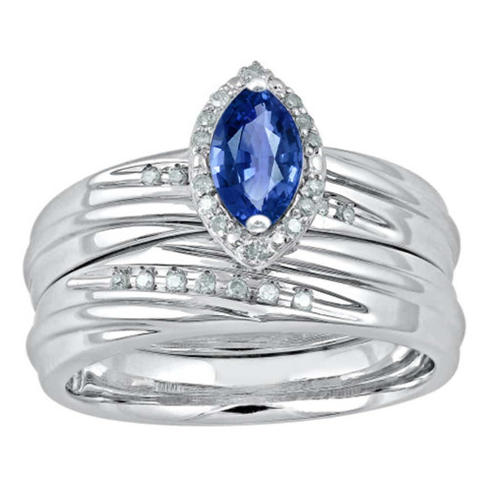 Marquise Shape Blue Sapphire 14k White Gold 925 Silver Bridal Wedding Ring Set