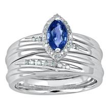 Marquise Shape Blue Sapphire 14k White Gold 925 Silver Bridal Wedding Ring Set - $83.60