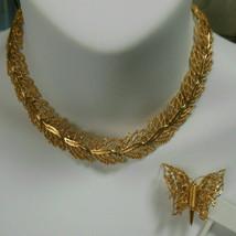 Vintage Monet Gold-tone Filigree Leaf Panel Link Necklace & Butterfly Brooch - $55.00