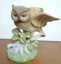Two Vintage Brown Horned Owls Perched On Leaves & Berries Limb Figurines image 6
