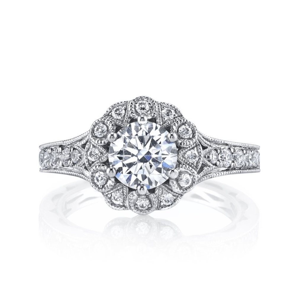 White Gold Finish 925 Sterling Silver Round Sim Diamond Engagement Women Ring