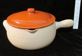 Red Wing Terracotta Pottery Bean Pot w/ Spout Handle & Lid Red Vintage 125 - $24.74