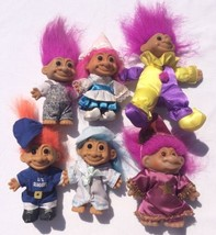 """Lot of 6 4"""" Russ Troll Dolls Bright of America Nice Outfits - $27.12"""