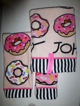 Betsey Johnson Betseys Donuts 3 Piece Towel Set Bath Hand and Wash Towel... - $28.70