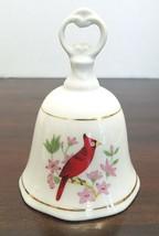 Cardinal Decorative Porcelain Bell Red Bird Porcelain Vintage - $8.77