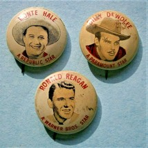 3 Quaker Puffed Wheat Rice Pinback Buttons Ronald Reagan, Monte Hale, B.... - $19.00