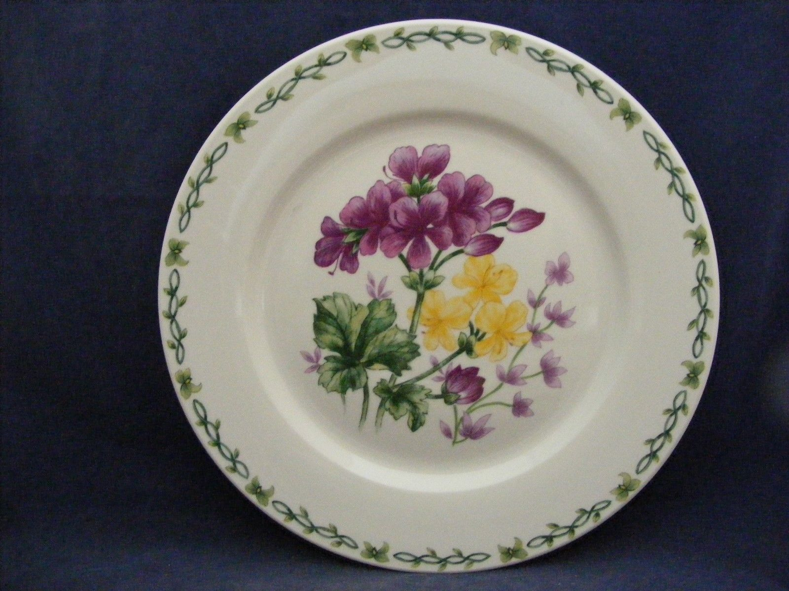"Thomson Floral Garden 10.5"" Dinner Plate with Purple & Yellow Flowers"