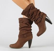 Cognac Brown Slouchy Round Toe High Chunky Heel Mid Calf Fashion Boot Qupid - $12.99