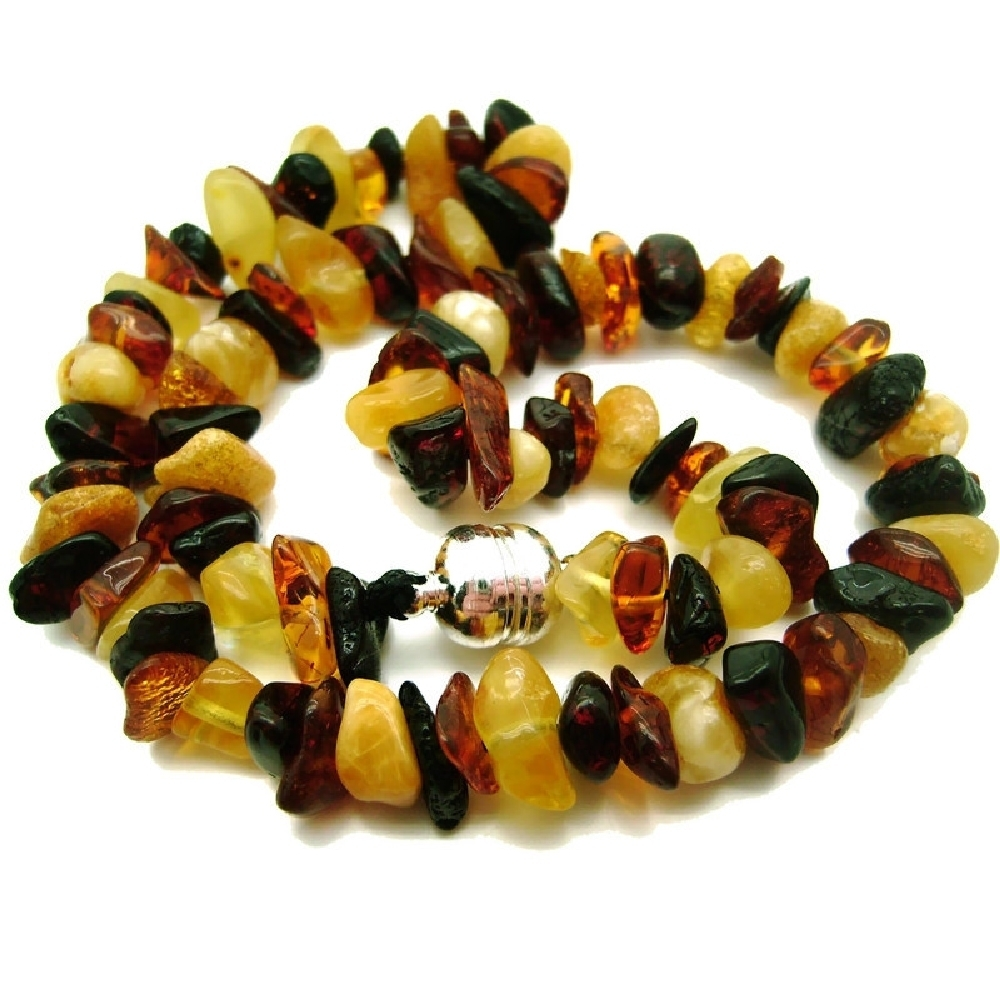 "Genuine 'Tiger Mix' Baltic Amber Teething Necklace 13"" - 20"" Baby Toddler Adult"