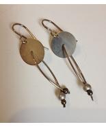 Sterling Silver Beaded Wire Disc Earrings Unique Handmade Artisan Pierce... - $64.00