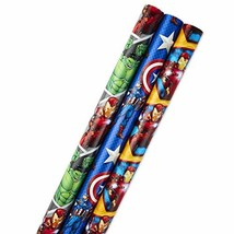 Hallmark Avengers Wrapping Paper Bundle with Cut Lines on Reverse, Solids & Patt - $15.53