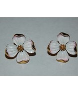 Crown Trifari White and Pink Enameled Dogwood Clip On Earrings - $19.99