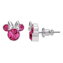 Disney Minnie Mouse Pink Tourmaline October Birthstone Earrings~Beautiful!**New! - $27.99