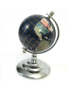 "World Globe Stone Inlay 5"" Table Desk Rotating Earth Figure Blue Lapis S... - $19.75"