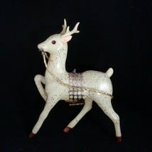 "Christmas Reindeer 9.5"" Tall Plastic Statue Decor Mid Century Gold Speckle - $19.75"