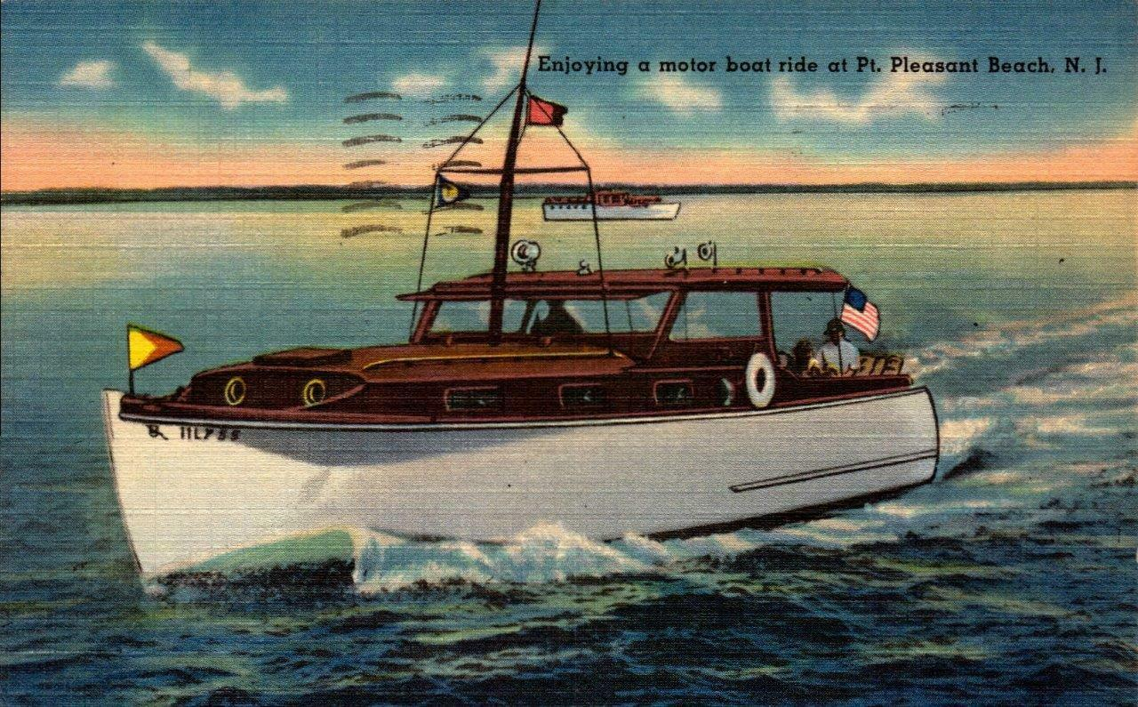 Primary image for LINEN POSTCARD- ENJOYING A MOTOR BOAT RIDE IN POINT PLEASANT, NJ  BK21