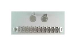 1974 Sarah Coventry Disco-Tek demi-parure; bracelet (#9875) & clip-on ea... - $15.95