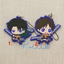 Japan Anime Attack on Titan Eren Levi Rivaille Keychain Rubber Strap Charm Gifts - $4.64+
