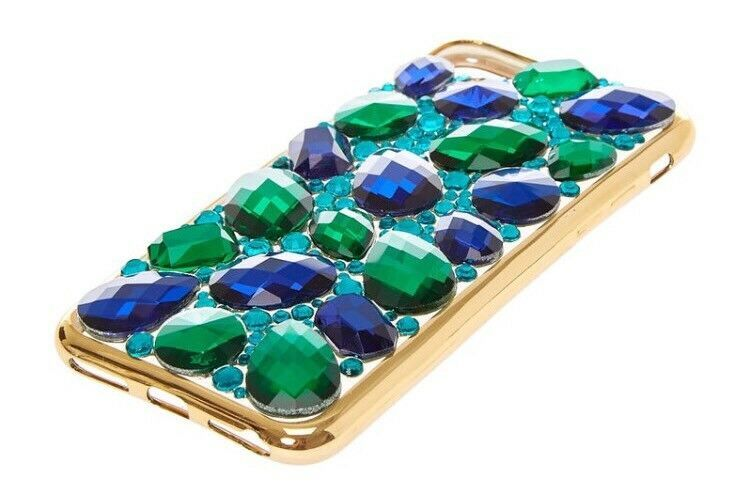 New In Package ICING Faux Sapphire & Emerald Stone Jeweled iPhone 6/7 Case