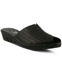 Spring Step Dejen Slide Sandal Black Croco, Size 38 EU / 7.5 US - $49.49