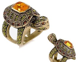 Heidi Daus Slow Poke Turtle Crystal Ring sizes 6, 7, 8, 10, 12 - $69.95