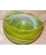 """Green Smokey Glass Round Decorative Bowls (2) Unique Villa Collection 6"""" - $22.10"""