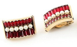 LERU Clip Earrings Mid Century Red Glass Faux Pearl Gold Tone  - $30.26