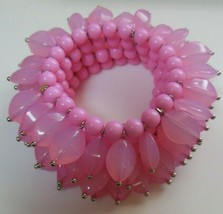Beautiful Pastel Pink 4-Row Bead Cluster Stretch Bracelet  - $44.55