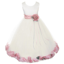 Ivory Satin Bodice Layers Tulle Skirt Dusty Rose Flower Ribbon Brooch and Petals - $48.00
