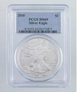 2010 Argent American Eagle Classé par PCGS comme MS-69 ! Superbe Aigle - $49.58