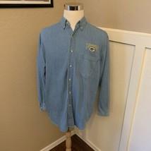 Green Bay Packers VTG 1990s True Fan Sportswear Denim Shirt Size Medium NFL - $19.94