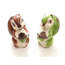 Set of 2 Vintage Squirrel Hand Painted Ceramic Figurines Mini Plant Pot - $19.83 CAD