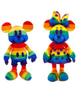 2020 Disney Rainbow Mickey & Minnie Mouse Pride Month Plush Stuffed Toy ... - $59.39