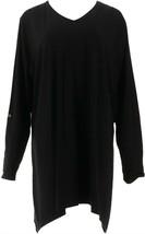 Denim & Co Essentials Roll-Tab Slv Trapeze Hem Knit Top Black L NEW A300785 - $28.69