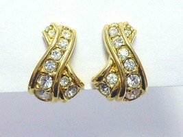 Signed Genuine Swarovski Pave Crystal X Cross Gold Clip Earrings Swan mark - $28.49