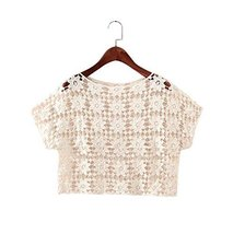 Soft Women Hollow Out Pullover Shawl Short Shirt Blouse, BEIGE