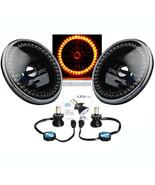 "7"" Black Headlight Amber LED SC Halo Angel Eye Headlamp 6K LED Light Bul... - $124.95"
