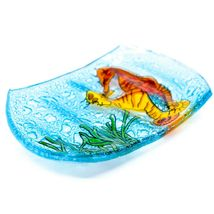 Fused Art Glass Seahorse Marine Ocean Design Soap Dish Handmade in Ecuador image 3