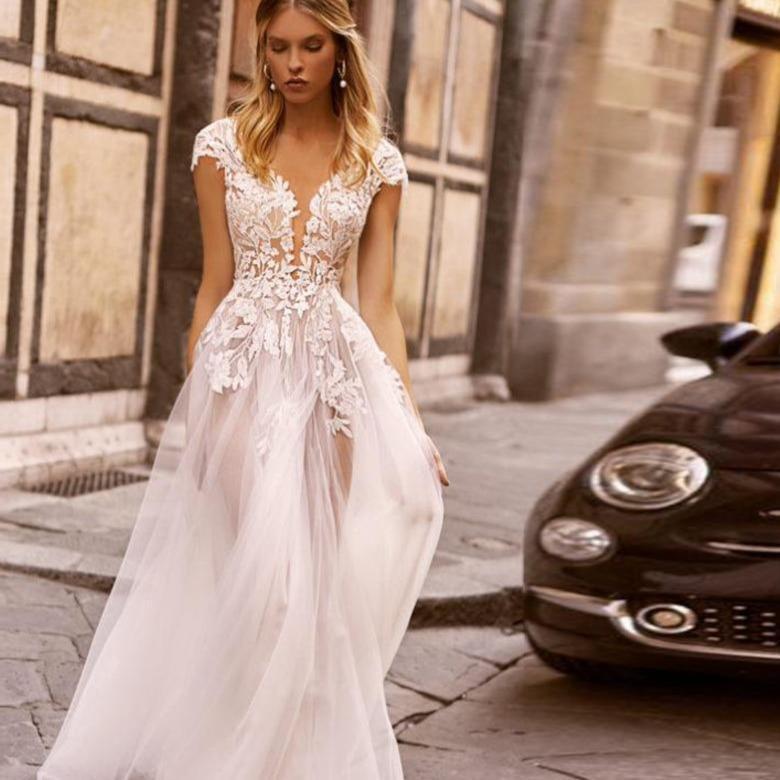 Lorie boho wedding dresses lace beach bridal gowns 2020 v neck cap sleeve open back beautiful