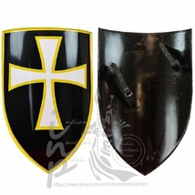 Knights Templar Medieval Regal Holy White Cross Matel Shield Cosplay - $125.00