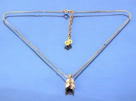 Auth Christian Dior CD Logo Gold Tone Chain Necklace Crystal Stone Pendant 4 gm - $127.71