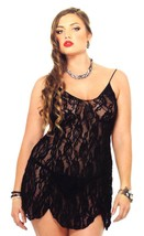 New Leg Avenue Women's Sexy Lingerie Lace Camisole Dress Plus Size Black 8717Q