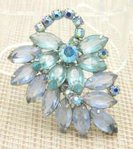JULIANA D&E Silver Tone Blue Rhinestone Flower Leaf Pin Brooch - $123.75