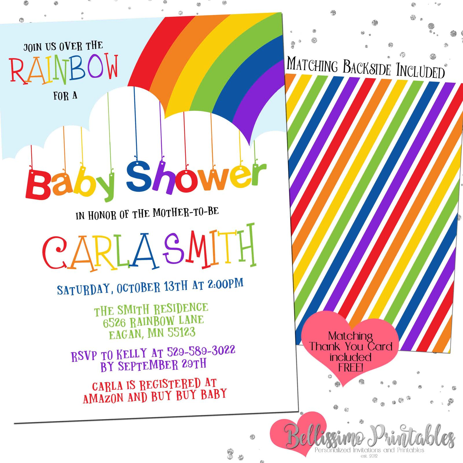 Rainbow Baby Shower Invitation Over the and 50 similar items