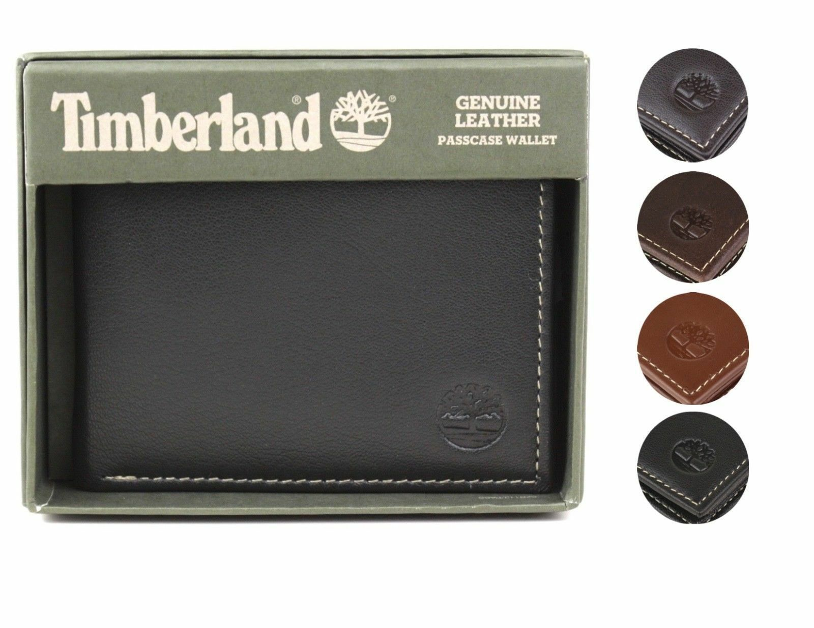 Timberland Men's Genuine Leather Passcase Credit Card Id Billfold Wallet